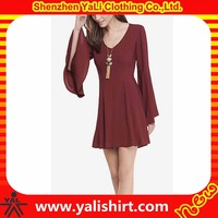 Custom made autumn high quality soft v neck plain bell sleeve long silk chiffon dress patterns