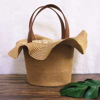 romantic charming lace hat straw braided bags tote basket women handmade ladies beach handbags