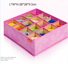 Folding 16 cells cardboard drawer storage box,cd storage drawer