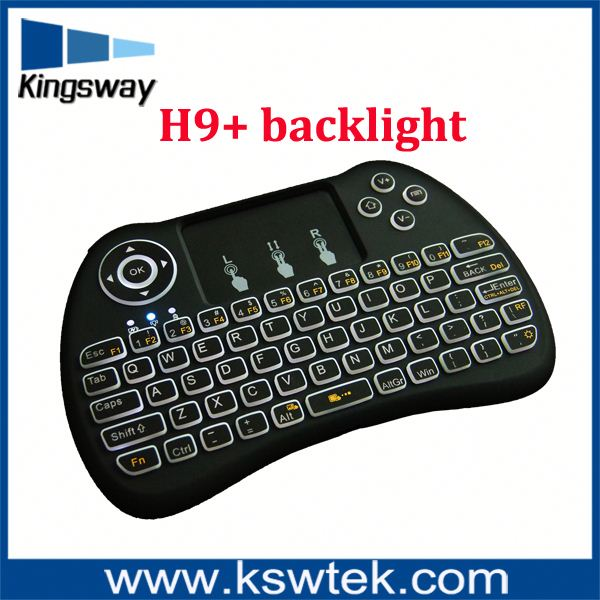 H9 Mini Hand-held Wireless QWERTY Keyboard Remote Controller Air Mouse Combo 2.4GHz Wireless Connection