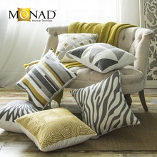 Monad large sofa yellow grey white geometric throw cushions pillow cases