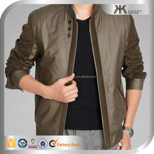 Top Fashion men contrast sleeve winter leather bomber jacket