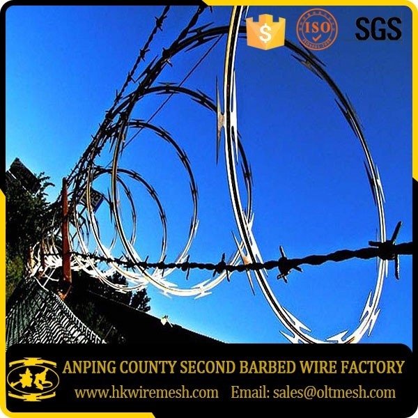 Concertina wire razor barbed wire fencing with galvanized