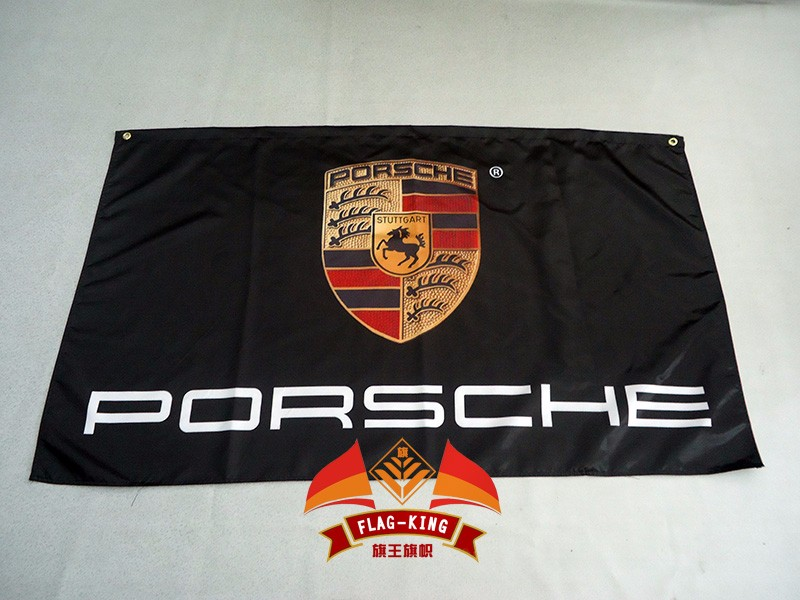 free shipping porscher flag for car <strong>show</strong> , can custom print file,90X150CM size,100% polyster