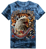 New style printed Eagle cotton custom men tie dye shirt man t shirt