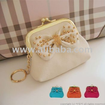 COMMA COIN PURSE/ Chic Ribbon Motif Mini Pouch