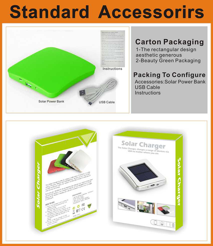 Hiking activities Square Shape Mobile Power Bank Solar Mobile Power Bank Solar Charger