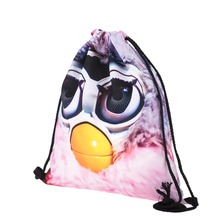 Top sell furby printed eco-friendly bags custom drawstring bags
