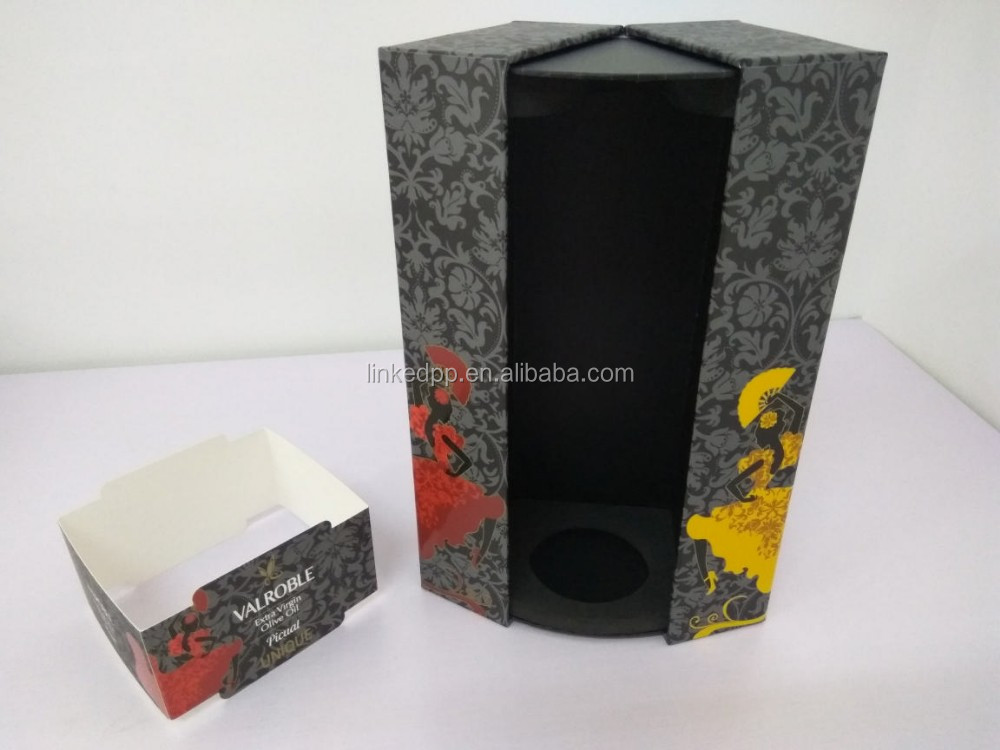 Paper cardboard luxury wine box , oliver oil box , fancy unique box