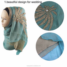 hijab factory supply high quality collection style pearl chiffon hijab wedding dress