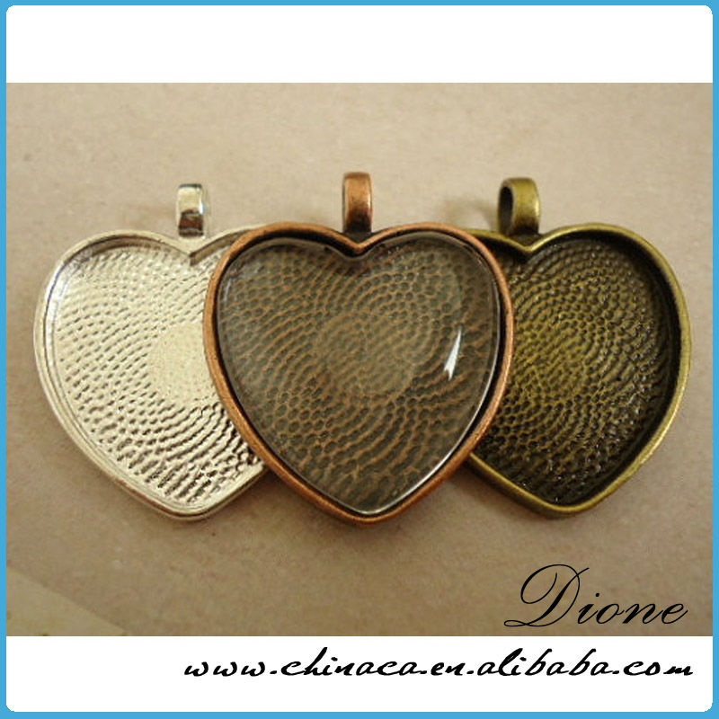 heart Pendant Trays - Antique Silver Color - 1 Inch - 25mm - Pendant Blanks Cameo Bezel Settings Photo Jewelry