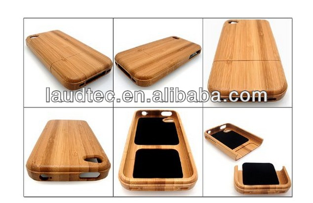 For Iphone 4 Bamboo Case - Hand Made - Hard Wood - Protective Hard Case