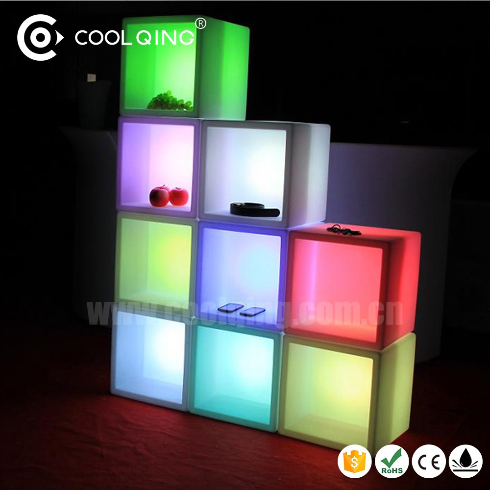 Mutifunction waterproof RGB 16 color changing rechargeable16inch 40cm led cube with hollow for shelf/beer /wine holder/stool