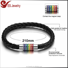 Wholesale Braided Leather Bracelets with Stainless Steel Magnetic Clasp Gay Pride Rainbow Men