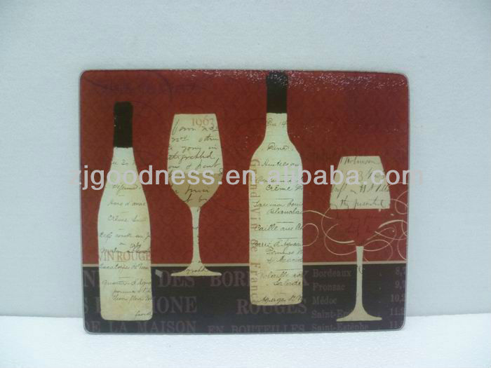 HOT SALE WINE BOTTLE PATTERN TEMPERED GLASS CUTTING BOARD