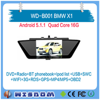 2016 Factory sales car dvd player with gps for BMW X1 of multimedia gps navigation support bluetooth wifi swc ipod