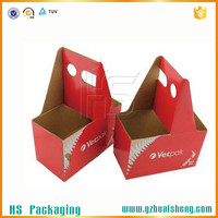recyclable 2,4,6 pack paper beer carrier box with handle
