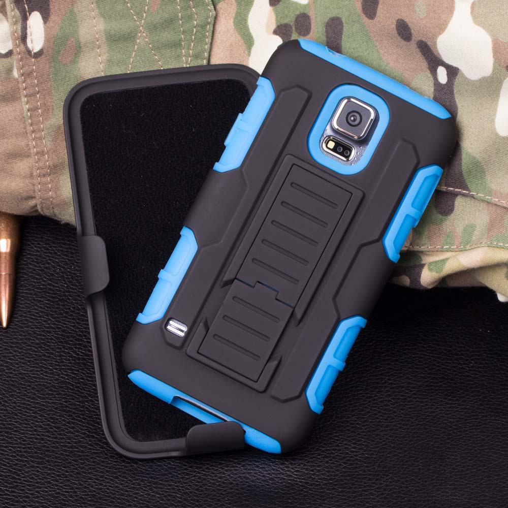 Belt Clip Holster Rugged Hybrid Hard Case with stand For Samsung Galaxy S5 I9600 back case