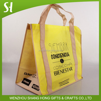 yellow non-woven tote bag/folding tote bag with paper cardboad