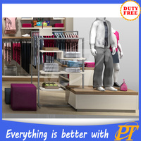 Retail clothing store furniture wooden clothes display table