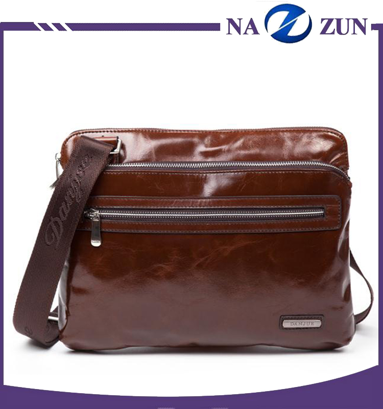 Simple brown waterproof leather shoulder bag men menssenger bag for business