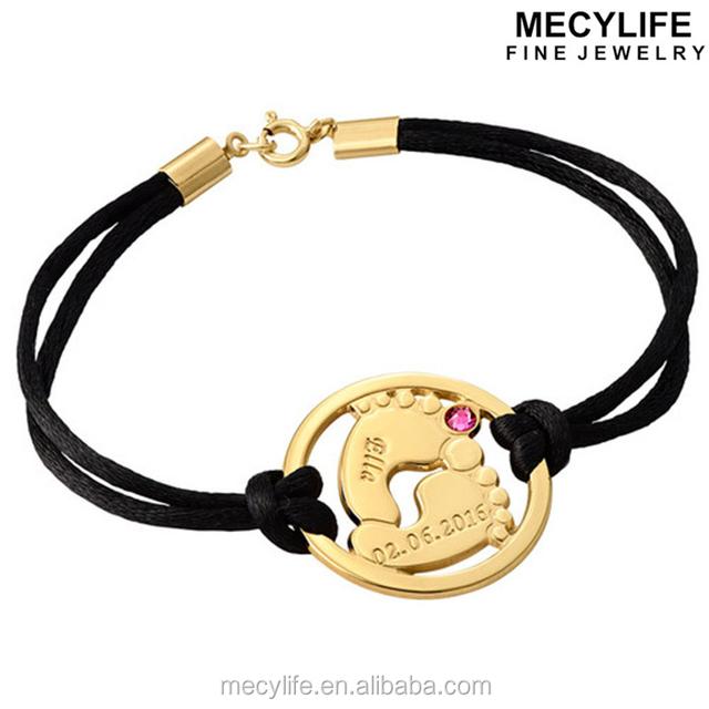MECYLIFE Birthstone Jewelry Stainless Steel Name Bracelet Baby Feet Bracelet