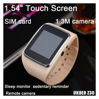 bluetooth gps smart 1.54 inch cheap touch screen watch phone with sim card 1.3M camera capricious shooting