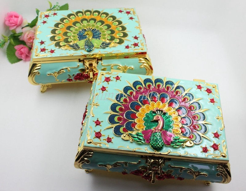 Shinny Gifts Peacock Design Metal Jewelry Box Wedding Gift Box Wedding Favor Wholesales