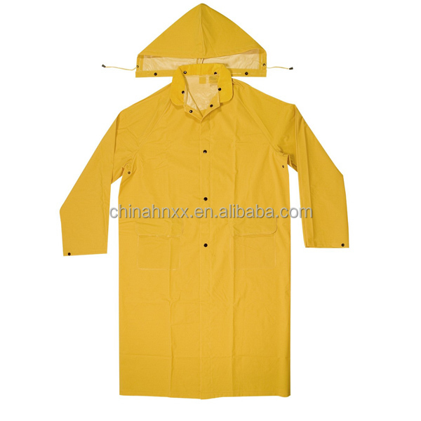 yellow rubber detachable raincoat with printing logo