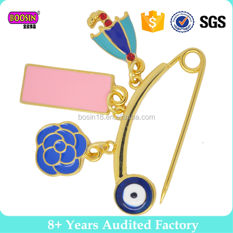 Boosin Factory Alloy gold palting crystal enamel fancy brooch pin