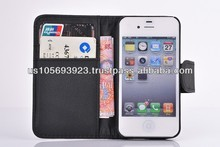 Cheap Wallet Flip Leather Case For IPHONE 4 4S Credit Card 8 colors Stocks