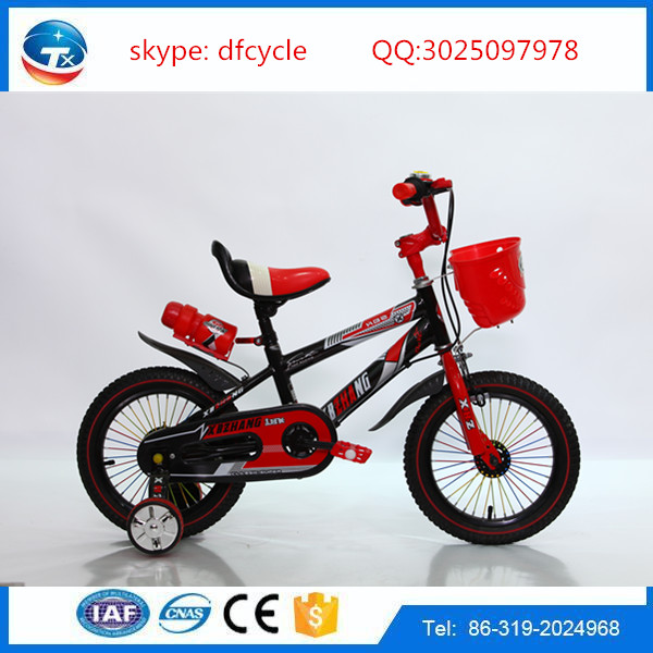 bicycle model 2016 with double wall rim with basket water bottle 12 inch bicycle for children kids cycle on line baby bicycle