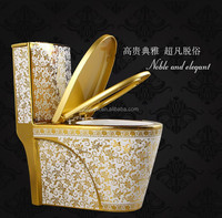 Ceramic one piece gold color toilet
