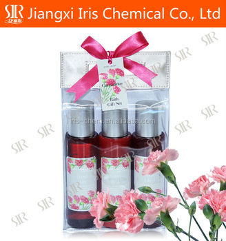 Bath gift set, personal skin care with carnation flavor