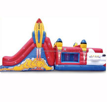 Factory suppy cheap inflatable rocket bouncy house combos for kids amusement