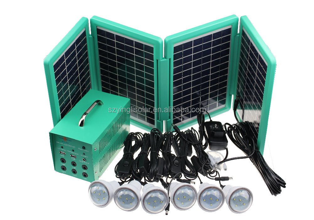 Portable solar lighting <strong>kits</strong> with foldable solar panel and large battery capacity