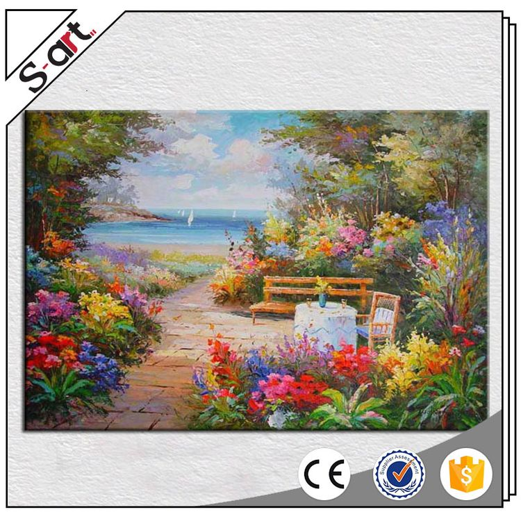 Professional latest design mediterranean sea acrylic landscape oil painting