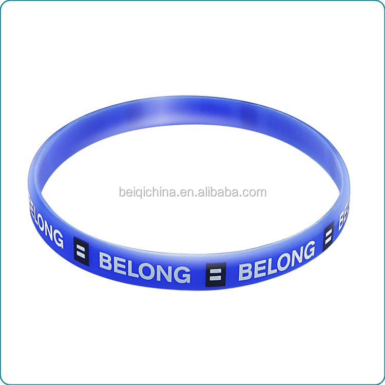 Customised silm screen printed silicone wristband,silm size printed logo silicone wristband