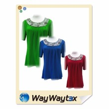 Single jersey stretch memory fabric beads design for women blouse accessories