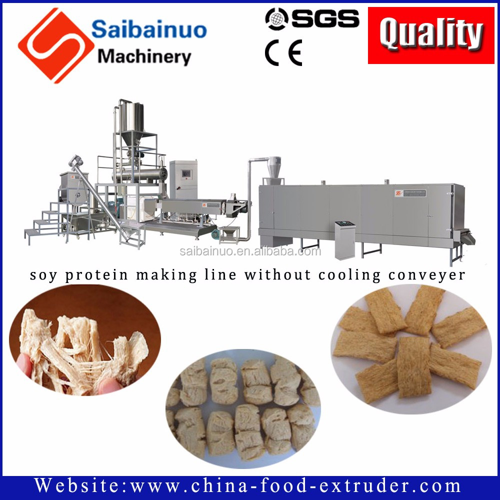 Fully Automatic Turnkey Soya Vegetarian Meat Machine/Textured soya pro...