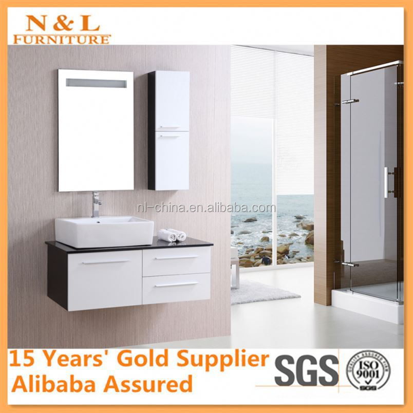 High Quality Solid Wood Bathroom Cabinet, Glass Wash Basin, PVC Bathroom Vanity
