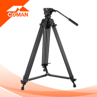 Coman DX16L 1.88m high aluminum king best video camera tripod with fluid ballhead