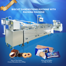Double Line Two Color Fruit Jam / Chocolate Filling Machine Biscuit Sandwich Machine from China