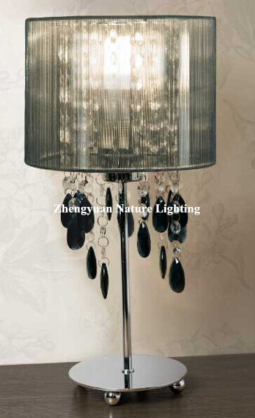 Fashion crytal table lamp with silver thread lampshade