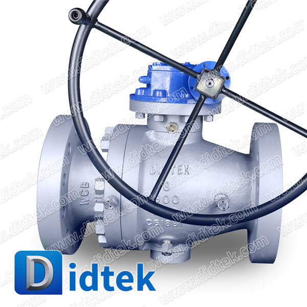 Didtek 2 Pieces Flange End Trunnion Ball Valve Class 900 Gear Operation
