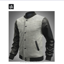 AG-JK039 Men's baseball Stitching clothes hoodie fashion varsity jiacket coatv pu leather sleeve