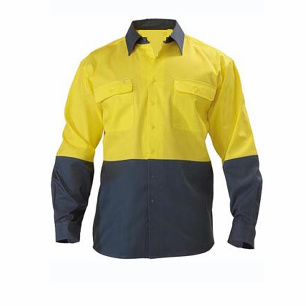 Two tone hi vis lightweight cuff shirt with 3m reflective for Hi vis shirts with reflective tape