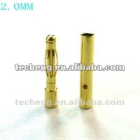 Gold plated connector male and female banana plug 2.0mm waterproof connector