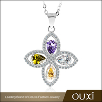 OUXI Factory Price Jewelry Silver Pendant With Crystal