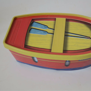 boat shaped promotion cute picture packing tin box